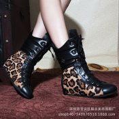 广州女鞋2014秋冬外贸豹纹马毛女靴真皮绒里内增高短靴系带马丁靴