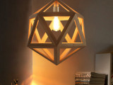 【杰艺】欧宜家灯具酒吧灯 工业木艺吊灯 个性六面体菱形吊灯批发
