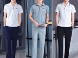 夏装男士短袖长裤套装 学生运动班服套装大