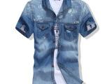 2014时尚陈冠希款夏装男潮牛仔短袖薄款衬衫潮流修身版牛仔衬衣