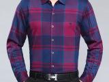 2015秋新品男装男式长袖衬衫 男士中年格子休闲山羊绒衬衣批发
