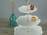 浮雕镂空蕾丝边陶瓷三层盘糖果托盘水果吊盘餐厅摆设纯白陶瓷盘