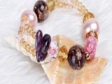 厂家直销新款韩国时尚多层水晶女式手工串珠编织手链手饰批发首饰