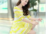 2014韩国女装新款淑女七分袖条纹欧根纱连衣裙公主裙蓬蓬裙夏装女