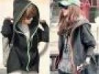 女装团批 韩版秋装新款 宽松双拉链假两件套 长袖连帽卫衣外套