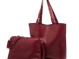 欧美简约时尚女包 大容量可拆卸单肩包 进口PU子母包外贸原单批发