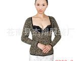 爆款豹纹U领保暖内衣 女士秋冬托胸塑身美体上衣 厂家低价批发