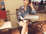 2014春装新款韩国长袖翻领豹纹拼接休闲宽松牛仔衬衫女百搭衬衣女