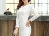 2014秋装新款修身打底蕾丝长袖连衣裙OL气质显瘦打底裙