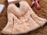 2014爆款时尚女装外套皮草 纯色短款狐狸毛领兔毛整皮皮草批发