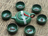 厂家批发 特价7头冰裂紫砂带鱼茶具套装 礼盒礼品功夫茶具