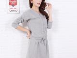 连衣裙女秋季新款韩版修身时尚气质圆领纯色大码长袖中长款连衣裙