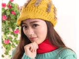 皮草毛毛装饰纯手工鸭舌毛线帽秋冬帽子韩版女士针织帽 DG3094