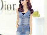 2014夏季新款女装韩版时尚修身V领无袖性感牛仔连衣裙