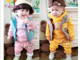 小童三件套冬款童装 男童女宝宝加厚小熊马甲全棉大卫衣一件代发