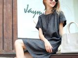 2015春夏装新款欧美短袖亚麻大码女装连衣裙显瘦棉麻修身裙子短裙