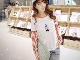 长袖t恤女2015秋季新款大码纯棉女装韩版长袖T恤打底衫上衣女