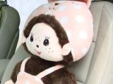 蒙奇奇熊猫等车用腰靠/汽车靠垫/座套 椅子靠垫衣服可拆洗 粉波点