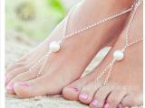 欧美外贸新款脚饰 夏季百搭沙滩美 简约夸张大珍珠连指脚链F023