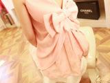 2014春夏V家后背蝴蝶结芭比上衣显瘦雪纺衫 黑粉2色