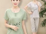 中老年女装夏季套装亚麻大码T恤短袖裤子40-50岁一件代发