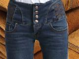 粤潮新款冬季爆款高腰双排扣加绒加厚牛仔裤女式小脚裤工厂批发