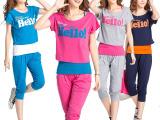 韩版休闲运动服大码胖MM背心短袖七分短裤学生春夏季三件套装女潮