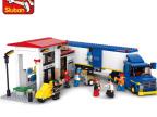 正品小鲁班积木货柜车系列0318厢式重型货运车 儿童益智拼装玩具
