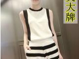 欧美大牌2014夏新款 小香风 条纹短裤女冰丝针织套装 两件套