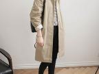2015韩国时尚简约纯棉安静的气质基本款卡其长款风衣女装