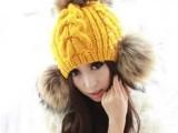 新款 裸婚时代童佳倩同款珍珠貉子大毛球毛线帽子韩版女士保暖帽