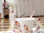孔雀珐琅彩咖啡套杯 多种颜色可以挑选