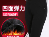 冬季品牌休闲女裤大码弹力加绒打底裤拼接翻边钉珠女士显瘦铅笔裤