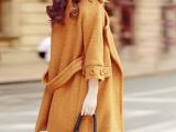 韩国东大门代购宽松大衣女中长款挺括品质风衣加厚羊毛呢外套批发