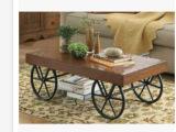美式乡村可移动创意客厅茶几复古做旧茶几客厅实木桌子批发