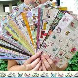 韩国复古欧美画报贴纸 碎花边标签纸质相册