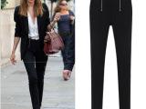 2013英伦风黑白两色休闲长裤女百搭小脚裤铅笔普通版一件代发