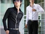 批发 男式 衬衫 男长袖衬衣 韩版修身 男装 百搭镶边黑白 小衬