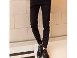 厂家直销 2014新款纯黑色韩版修身小脚牛仔裤休闲牛仔裤 一件代