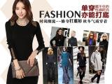 东大门韩版新款女装大码长袖长款女式包臀修身拼接打底秋季连衣裙