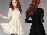 新款韩版女装 修身长袖打底蕾丝连衣裙冬女