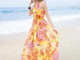 2014夏季新款雪纺连衣裙沙滩长裙背心裙欧美大牌碎花裙潮
