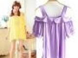女装代理厂家直销夏季热卖 韩国 女一字领连衣裙短裙 露肩小洋装