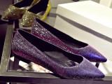 2015早春新款欧美奢华大牌金丝低跟浅口单鞋羊皮尖头女鞋平底