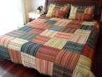 2211欧式彩条色织手工拼布简约大气绗缝被床单床盖纯棉面料三件套
