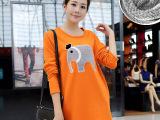 秋冬装新款韩版孕妇装大码加绒加厚孕妇T恤打底可爱大象孕妇卫衣