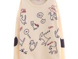 2014冬新款 外贸日式纯棉宽松大码满印卡通女式长袖T恤卫衣小衫