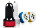 彩色双USB车充 **车载充电器 多功能车载手机充电器 厂家直销
