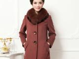 秋季新款羊毛大衣女大码韩版修身大衣 中长款妈妈秋季羊毛大衣