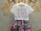 2014新款韩版外贸夏季童装蕾丝背心连衣裙两件套儿童裙子女童夏装